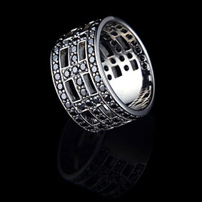 Cross Ring – Rhodium – Black Zirkon