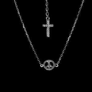 Infinity Tiny Symbol Necklace – Peace – Rhodium